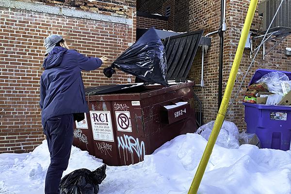 Person throwing trash