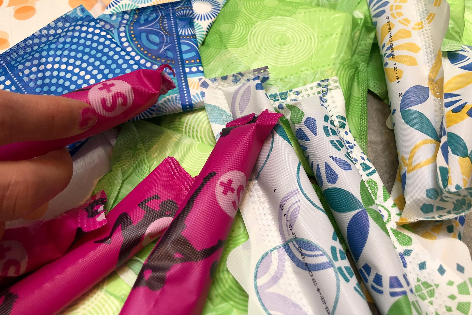 A variety of menstrual products.