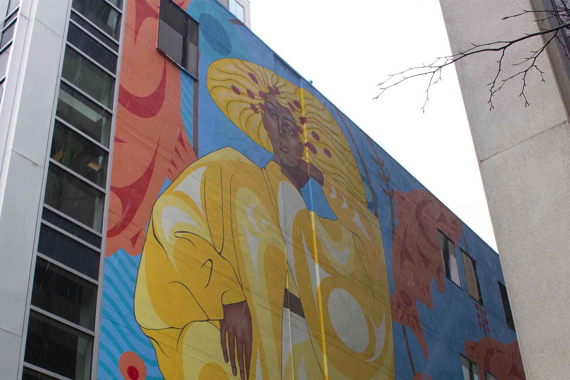 Snekwem Lane Indigenous art mural